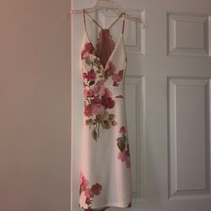 White and Pink Floral Formal Dress with Lace Back